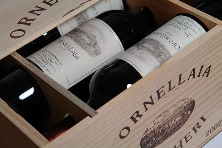 Box of Ornellaia 2002 red wine from Bolgheri, Tuscany, Italy.