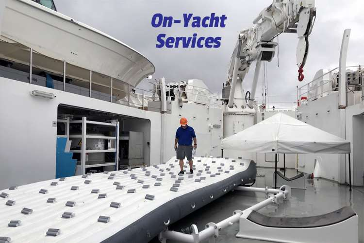 Image of an inflatable climbing wall on a vessel with text: On-Yacht Services