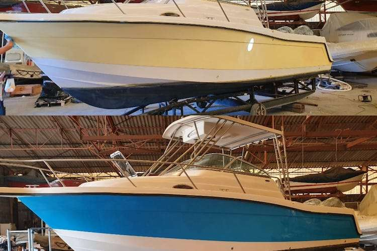 Motor boat before and after hull painting