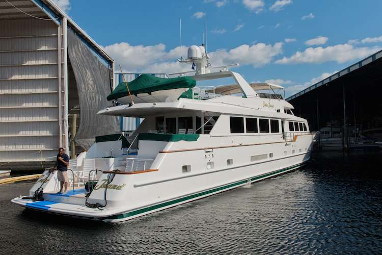 Image of a yacht in water at the shipyard