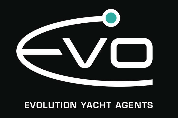 White Evolution Yacht Agents - EVO- logo on a black background.
