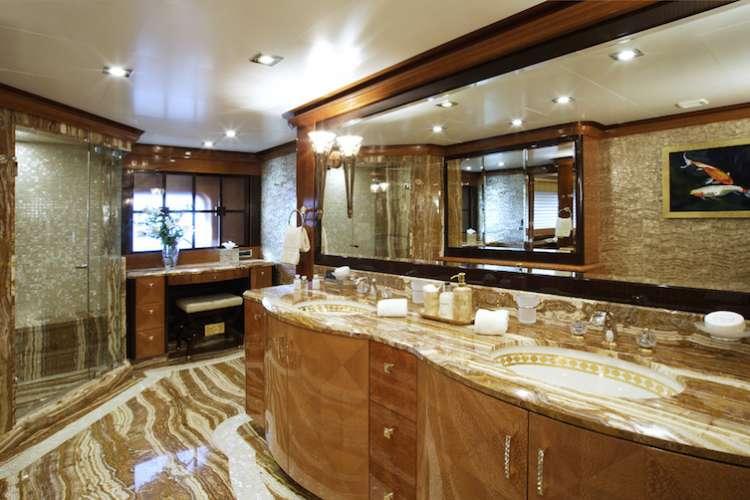 Superyacht bathroom on with interior design by Karen Lynn.