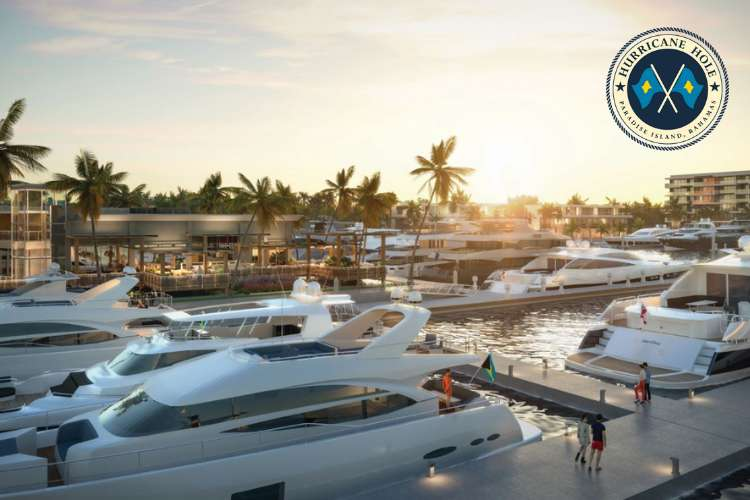 Image of yachts berthing in Hurricane Hole Marina in a sunset