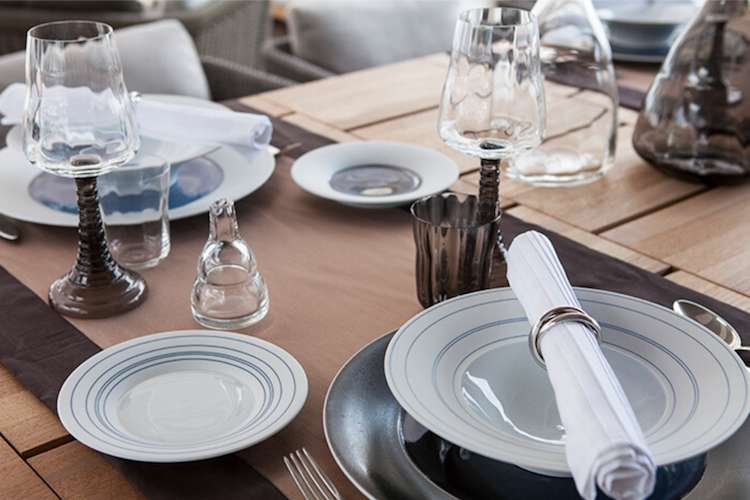Table set with glass and tableware from Boutsen Design