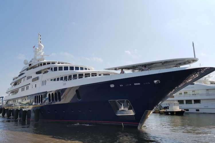 Yacht anchored in the shipyard