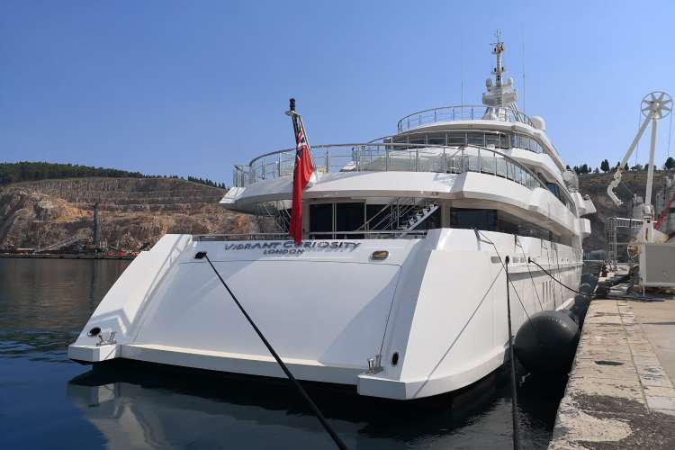 Superyacht berthing in a port in Montenegro
