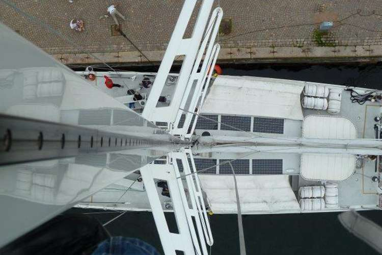 Image of a sailing boat taken on top of the mast.