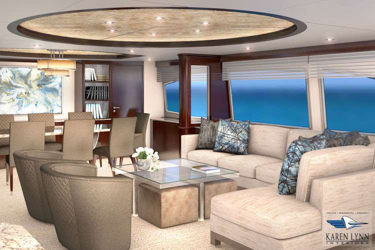 3-D rendering of a dining area on a superyacht by Karen Lynn Interior Design