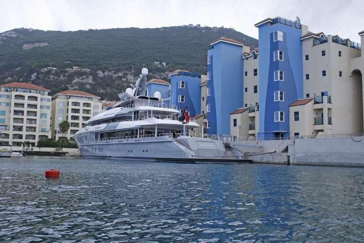 Superyacht in a Gibraltar port