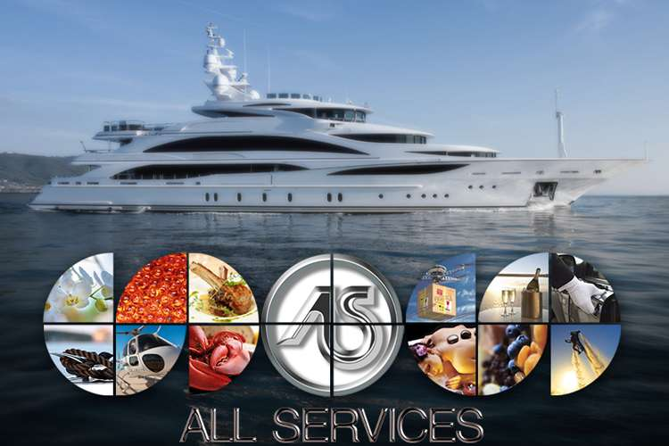 All Services logo with a superyacht in the background.