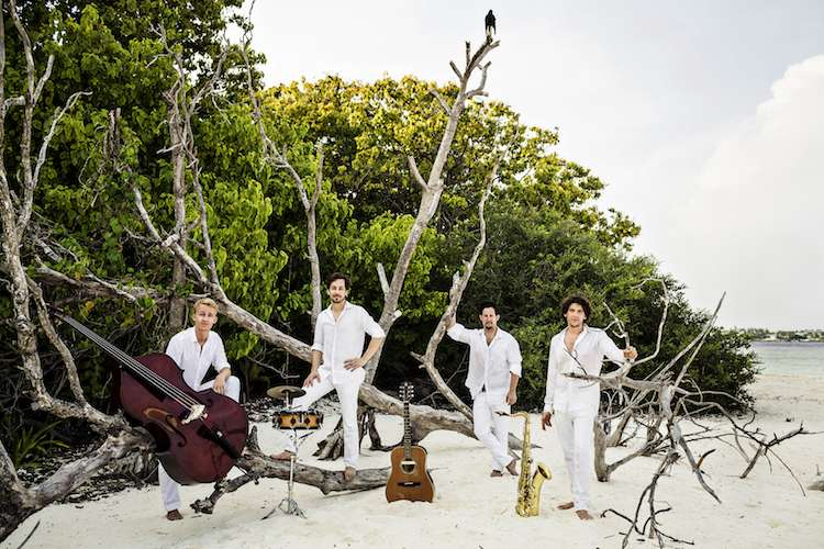 Image of a band with four members standing on a beach with their instruments on the sand.