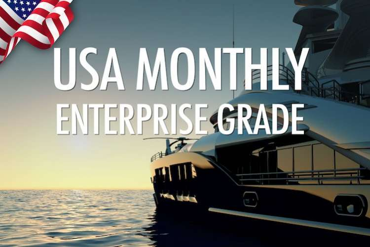 Superyacht anchored in the sunset with text: USA monthly enterprise grade.
