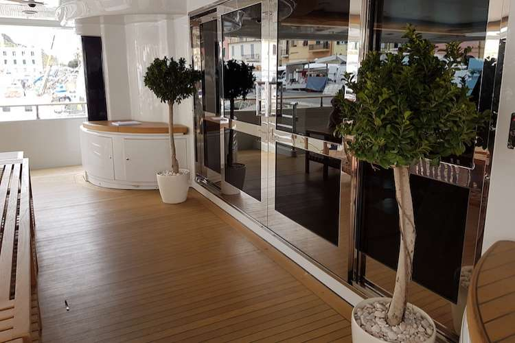 Green plant trees placed on a superyacht deck if front of big glass doors