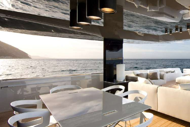 Image of a sun deck dining area on a superyacht
