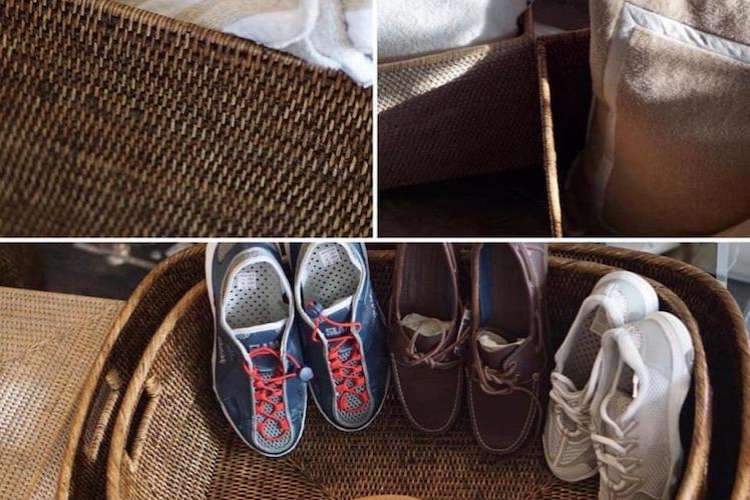 Rattan shoe baskets and accessories from Ildeval.