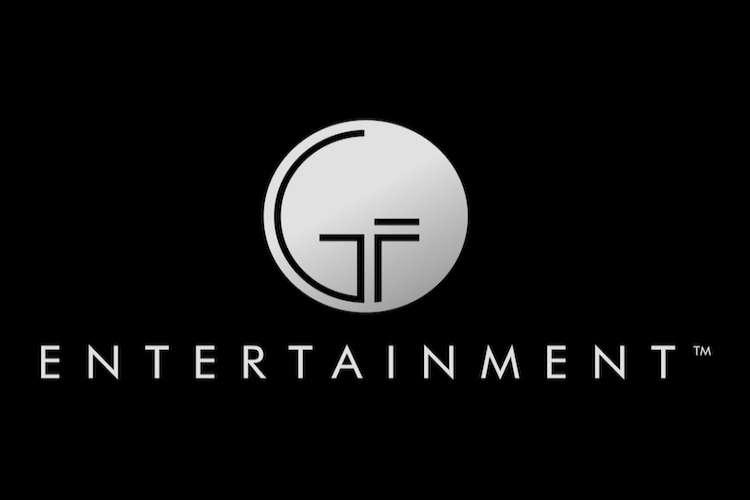 Grey GF Entertainment logo on a black background.