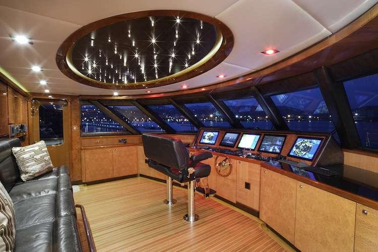 Superyacht bridge with interior design by Karen Lynn.