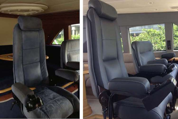 Before and after image of Captain's seat in a superyacht bridge