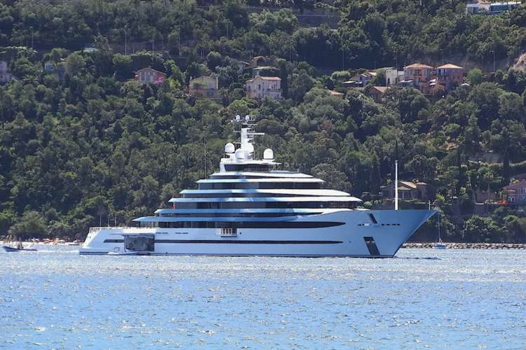 A superyacht on Anchor in the ocean