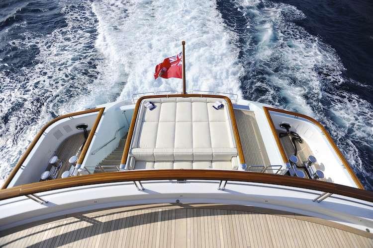 Superyacht Klaus Jordan's leather sun-lounge bed on the aftdeck