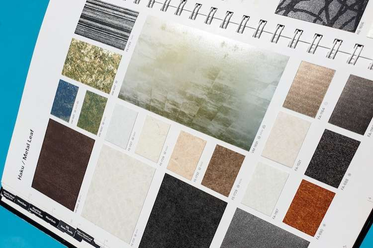 Image of a catalogue of wrap film samples of Haku - Metallic Leaf in different colours