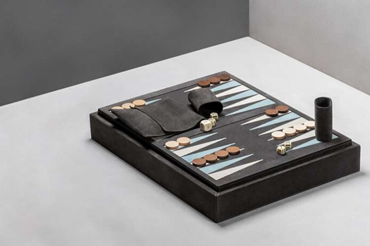 Luxurious backgammon game set ready to play