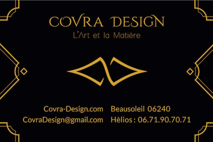 Covra Design contact details on a black background