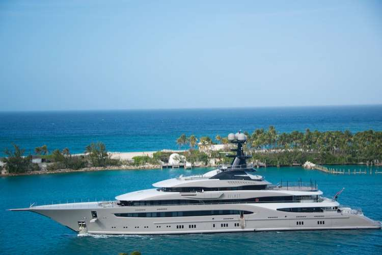 Mega yacht cruising in a sea