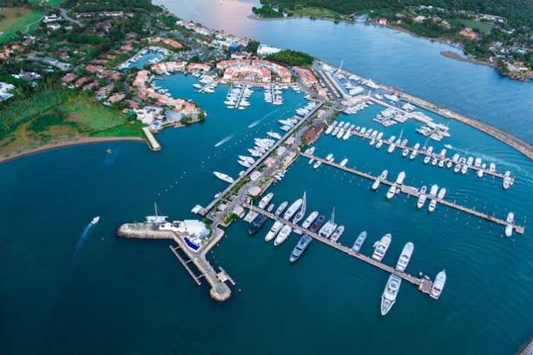 Aerial image of superyachts Marina berths in the marina