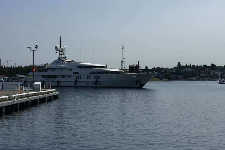 Superyacht in a port of Seattle