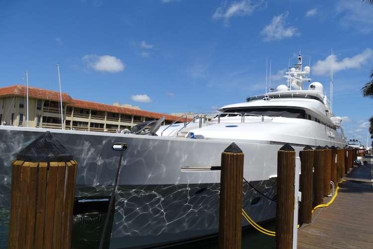Superyacht docking in a shipyard
