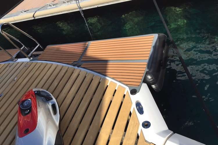 Superyacht swimming platform and stern.