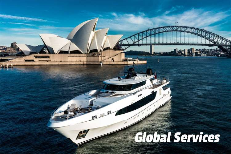 Yacht in front of the Sydney Opera House and text: