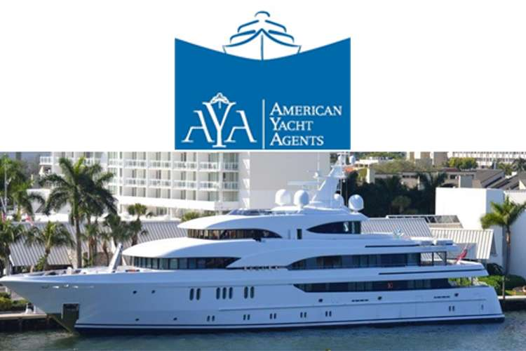 American Yacht Agents - AYA, logo and an image of a superyacht below the logo.
