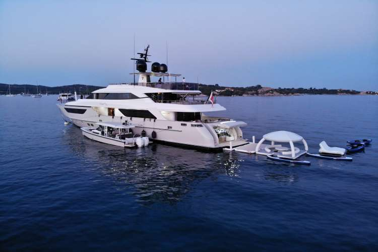 AquaBanas inflatable deck in the back of a superyacht