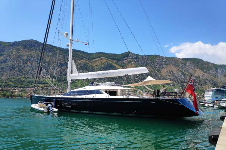 Sailing Yacht berthing in a port in Montenegro