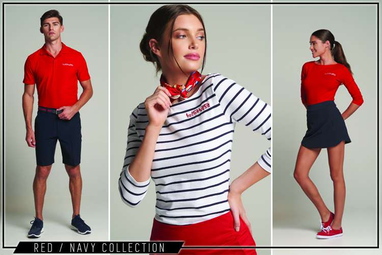 Yacht crew wearing Liquid Yacht Wear red yacht uniform collection clothes