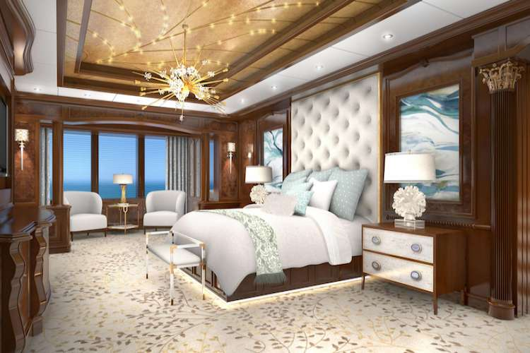 Superyacht master bed room designed by Karen Lynn Interior Design.