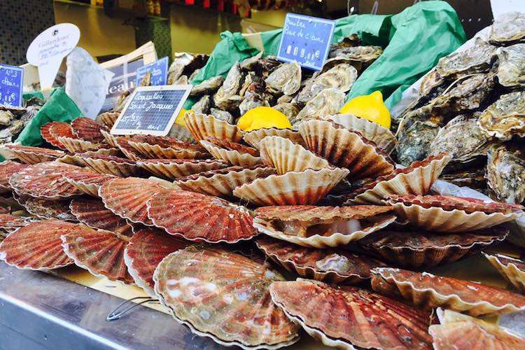Scallops and oysters  in display in the Poissonnerie La Sirene shop