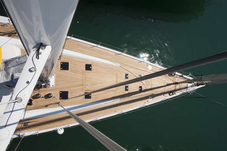 aerial image of a sailing yacht decking by H.Y.S.