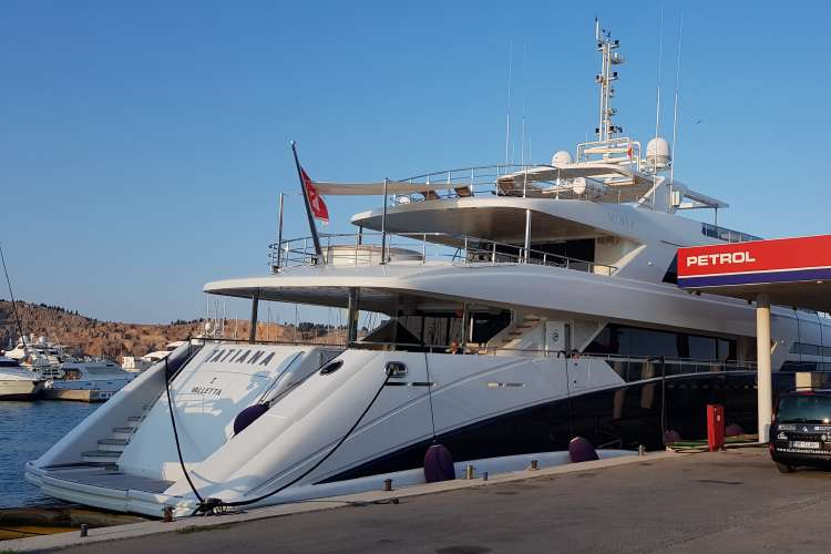 Superyacht fuelling in a bunker in a port in Montenegro