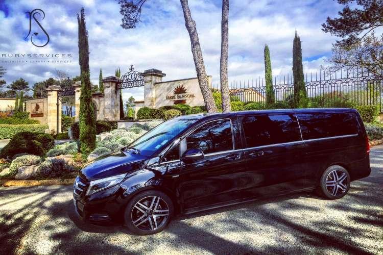 Viano van parked outside a villa