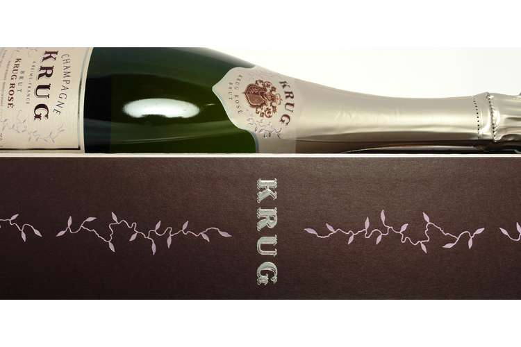 Krug champagne bottle lying on its box.