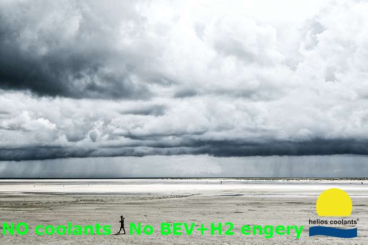 Helios Coolants logo on an image of a long sand beach with stormy sky