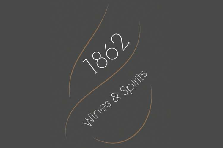 1862 Wines & Spirits logo on a black background