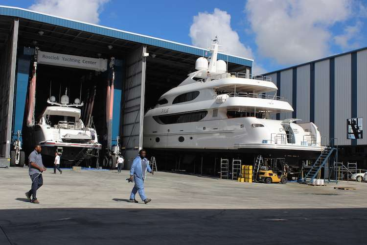 Two yachts in a hangar