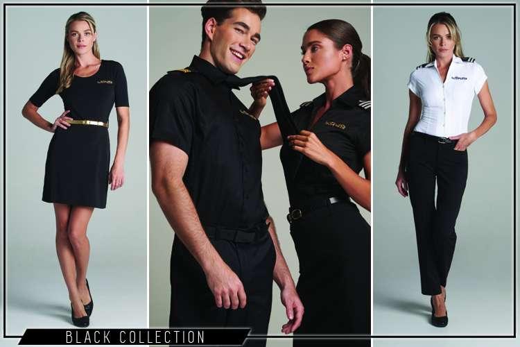 Yacht crew wearing Liquid Yacht Wear black yacht uniform collection clothes
