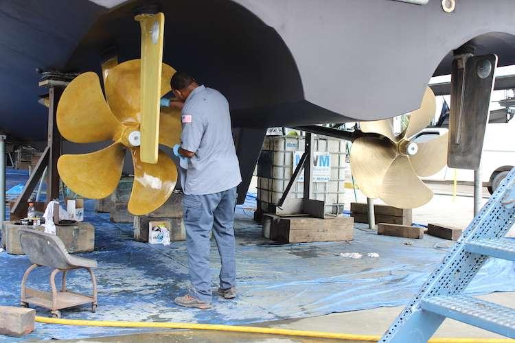 Man fixing a propeller