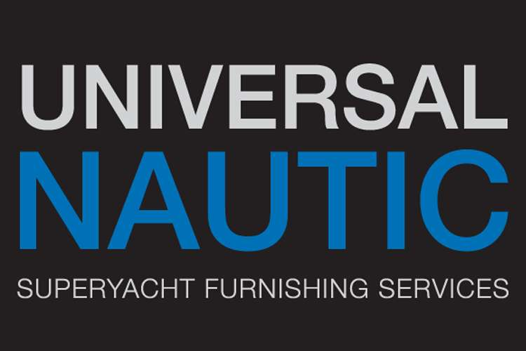 Universal Nautic Superyacht furnishing services logo on a black background