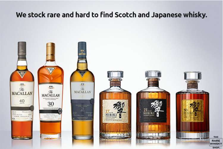 Rare Scotch and Japanese whisky bottles in a row